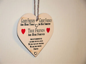 'Good Friends' Wooden Heart Shaped Plaque Novelty Gift Friendship Sign Home
