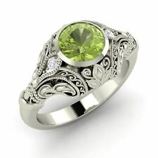 Certified 0.72 Ct Natural Peridot & Diamond Engagement Ring in 14k White Gold