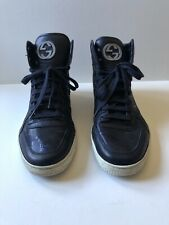 100% AUTHENTIC Gucci Men's Leather Black Dark Blue High Top Sneakers Shoes