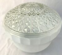 Glass Dome Ceiling Light Shade Cover White & Clear Diamond Pattern Vintage MCM
