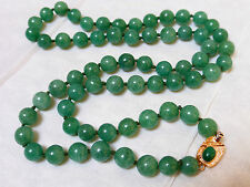 VINTAGE CHINESE GREEN JADE OR JADEITE BEAD NECKLACE, GOLDPLATE CLASP