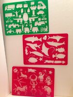Vintage Stencils Childrens Assorted Plastic Traditional Crafts Hobbies Reusable