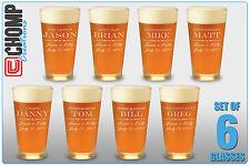 Set of 6 Personalized Custom Engraved Pint Glasses, Groomsman, Best Man Gifts