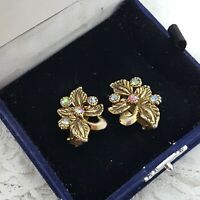 VINTAGE Floral Clip-On Earrings Sparkly Stones Gold Tone Leaf Pretty Cute Dainty