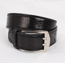 BRIONI Belt Black Genuine Ostrich Leather Size 70 Silver Signature Buckle