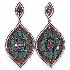 Große Ohrringe Smaragd Rubin Saphir & CZ 925 Silber 585 Schwarzgold