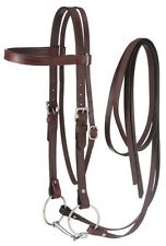 Draft Horse Western Browband Bridle - Dark Oil Leather - Snaffle Bit - Reins
