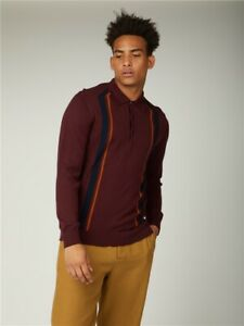Ben Sherman Mod Stripe Long Sleeved Knitted Polo Shirt Men's 049 Port