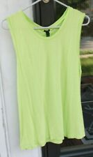 J. Crew sz M Lime Green Top Tee T Shirt Sleeveless 100% Cotton EUC *E