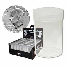 20 BCW Round Clear Plastic Large Silver Dollar 59.4 mm Coin Tubes w/Screw-On Cap