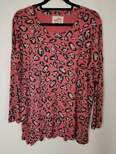A POSTCARD FROM BRIGHTON Tunic Top Size 1 Pink Animal Print Lagenlook Stretch