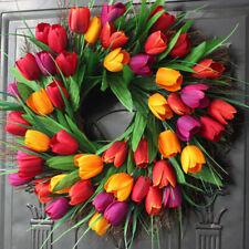 1pc Door Tulip Wreath Decorative Tulip Simulation Garland for Shopwindow Wall
