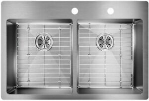 Elkay Crosstown Drop-In/Undermount 33 in. 2-Hole Double Bowl Kitchen Sink