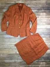 Women's Orange 100% Flax Linen Blazer Jacket & Pencil Sheath Skirt Suit 44 US 14