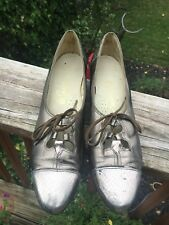 1980s Vintage Lace Up Gold Snake Print Metallic Flats Skimmers Shoes 8.5 N Euc