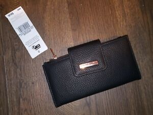 Adrienne Vittadini Fold Out TAB Snap Wallet BLACK ROSE GOLD TRIM NWT