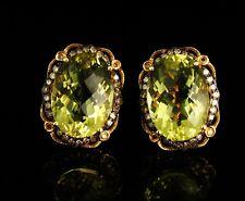 SIGNED NATURAL 16.60ctw LEMON QUARTZ & FANCY DIAMOND OMEGA 14K GOLD EARRINGS