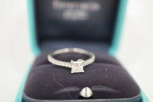 Tiffany & Co 0.33ct Princess Cut Diamond Platinum Engagement Ring Size 4.5