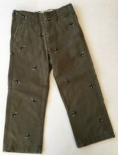 NWT Baby GAP Sz 4 Years 4T Olive Green Embroidered Car Flat Front Pants