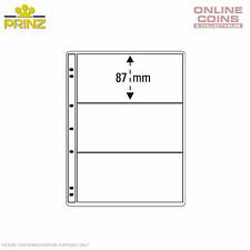 PRINZ ProFil 3 Pocket Clear Banknote / Stamp Album Pages Pack of 5