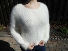 HAND KNIT 80% ANGORA Sweater! SO FLUFFY! Fuzzy Furry CRAZY Soft! WHITE