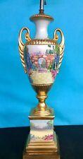 Antique Hand Painted Porcelain Lamp , Double  Handles
