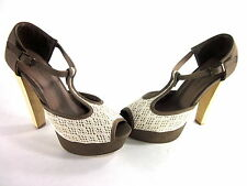 C LABEL WOMEN'S SUDEN-5 PLATFORM SANDALS TAUPE/CREAM SYNTHETIC US SIZE 8.5 MED