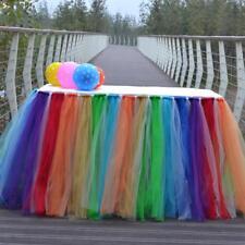 Tulle Tutu Table Skirt Table Cover Birthday Baby Shower Rainbow 80 x 100cm