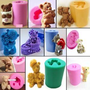 Small Flat Teddy Bear Mold Cake Decoration Flexible Plastic Molds Fondant Bears Mold