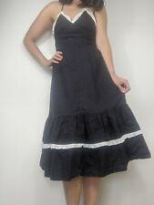 Original Vintage 1970s Black Polka Dot Prairie Style Sundress. Size S.