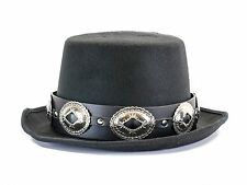 Large Concho Leather Band Wool Top Hat Premium Quality Party on! Slash Hat