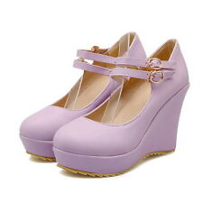 Womes High Platform Wedge Heels Wedding Candy Buckle Mary Jane Fashion Hot Shoes