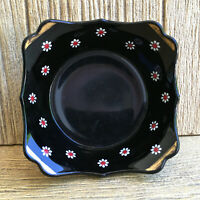 Imperial or LE Smith Black Glass Bowl Hand Painted Floral Daisy Maytime Design
