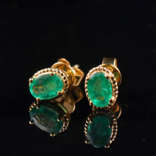 Natural Oval Green Emerald Earrings Basket Stud Solid 18K Yellow Gold Jewelry