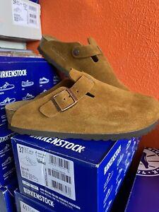 Birkenstock Boston Suede Leather Clogs Sandals Soft  SlipOn Mink Size 4.5 37
