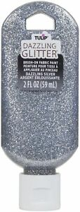Tulip Dazzling Glitter Brush-On Fabric Paint 2oz-Silver