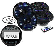 "6.5"" Multi Color LED Marine Speakers,Bluetooth AM FM Round Boat Radio, & Antenna"
