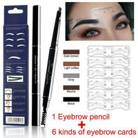 Eye Makeup Set Enhancer Eyebrow Tattoo Liner Pencil With 6PCS Stencil Template