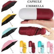 Mini 6-Folding Compact Capsule Umbrella Windproof Anti-UV Rain Sun Portable NEW