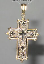 EXQUISITE ESTATE 14K GOLD TWO TONE Religious CROSS PENDANT MICHAEL ANTHONY MA