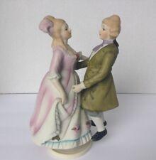 Vintage Revolving Music Box Victorian Couple Ceramic Porcelain Figurine