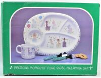 Precious Moments 4 Piece Melamine Toddlers Dish Set Vintage 1987 Enesco