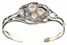 Hagit Gorali Large Cultured Pearl & Gemstone Sculpted Sterling Silver Large Cuff