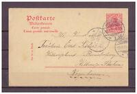 Deutsches Reich, Ganzsache P 59 Hamburg nach Kopenhagen, Dänemark 10.09.1905