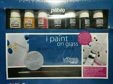 Pebeo vitrea 160 Paint on Glass kit 8 colors, 3 cocktail glasses, plus more