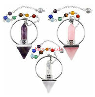 Natural Quartz Crystal 7 Chakra Point Pendulum Healing Reiki Dowsing Divination