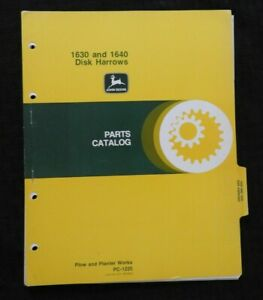 1980 JOHN DEERE 1630 1640 DISK HARROWS PARTS CATALOG MANUAL VERY NICE SHAPE