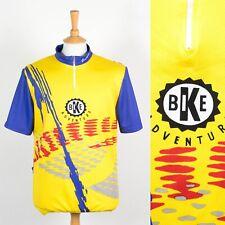 HOMBRES Vintage 90'S Amarillo & Azul Bicicleta Aventura Ciclismo Camisa Raza