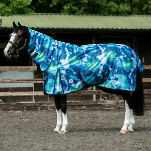 Derby House Print Tie Dye Medium Combo Horse Rug Turnout - Blue All Sizes