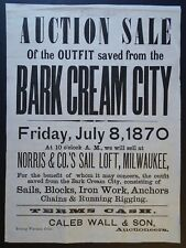 x RARE Auction Broadside Steamer Ship Bark Cream City Wreck Milwaukee WI 1870